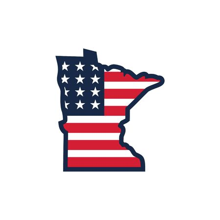 vector of Minnesota map with united states of america flag logo design 向量圖像