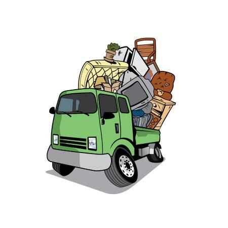 Cartoon pickup truck loaded full of household junk desig