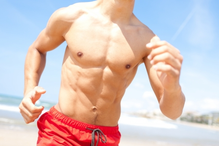 young men strong chest running photo