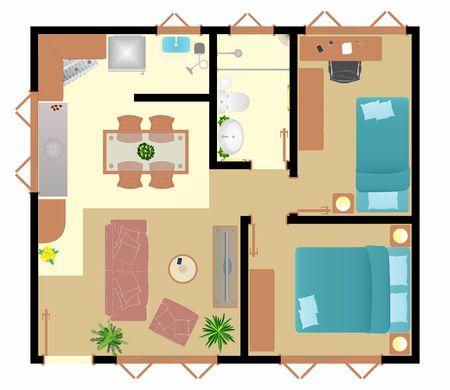 Ground floor popular house 2 Ilustração