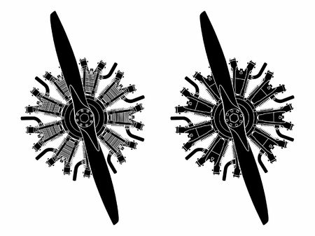9 cylinder radial engine colored. Black fill only.