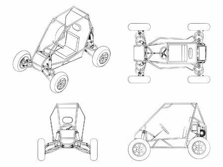 Low vehicle outline like brushstrokes Illustration