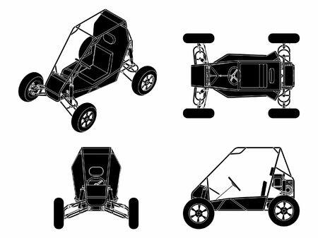Baja vehicle black fill Ilustração