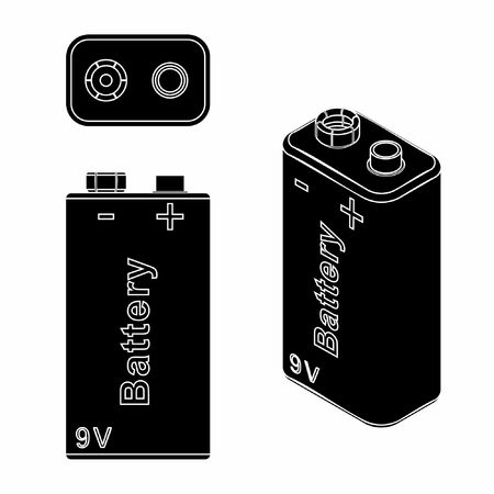 Traditional Battery 9V. Black fill. 일러스트