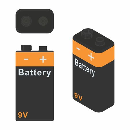 Traditional Battery 9V. Dark colors. Illustration