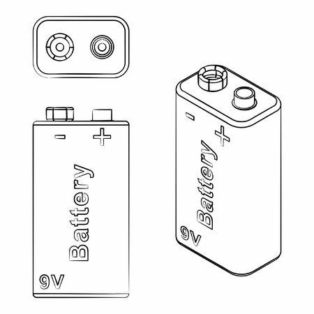 Traditional Battery 9V. Different outline like brushstrokes.