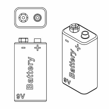 Traditional Battery 9V. Outline only.