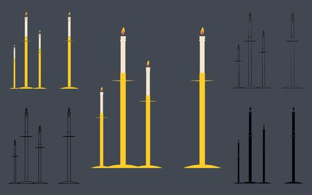 Candle holders. Outline. Without outline.