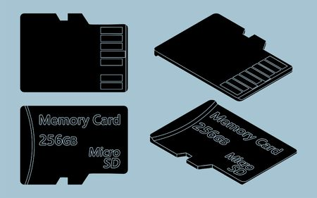 Card SD black fill without outline