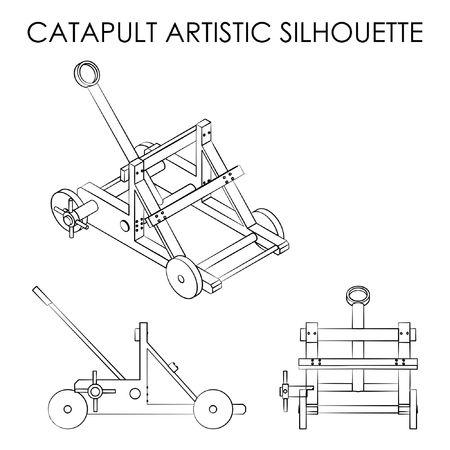 Catapult outline like brushstrokes