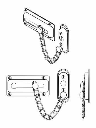 Chain door lock. Outline like a brushstrokes. Vetores