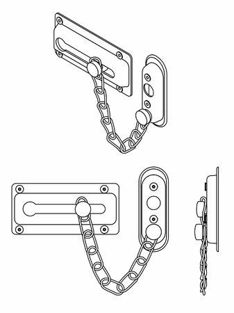 Chain door lock. Outline only.