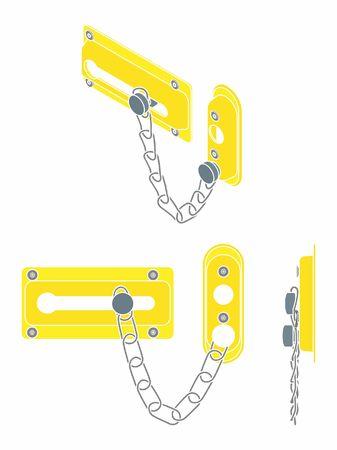 Chain door lock. Without outline.