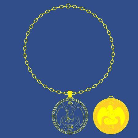 Medal chain. Divine pelican. Christian sacred symbol.