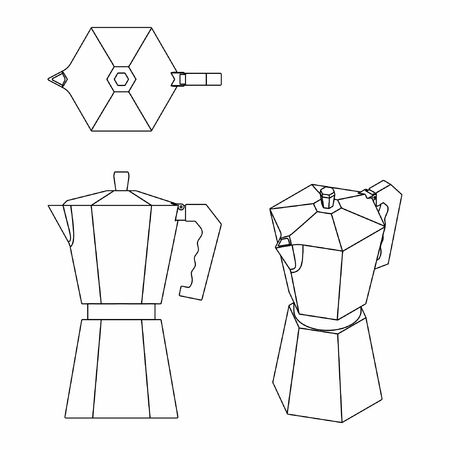 Coffee Pot outline only Vetores