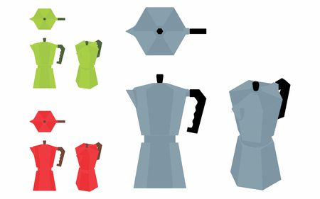 Coffee Pot simple variable colored Vetores