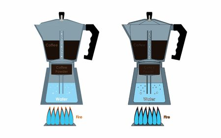 Coffee Pot internal parts showing process Vetores