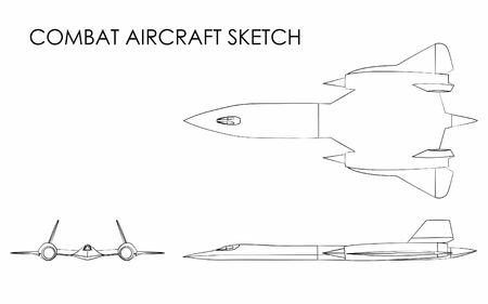 Combat Aircraft outline like brushstrokes