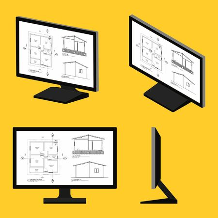 Computer screen architectural drawing