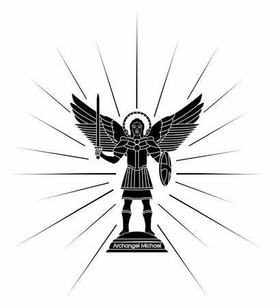 Archangel Michael. Black fill Illustration