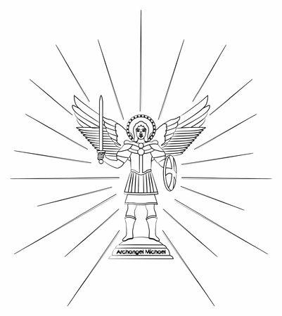 Archangel Michael. Outline like a brushstrokes