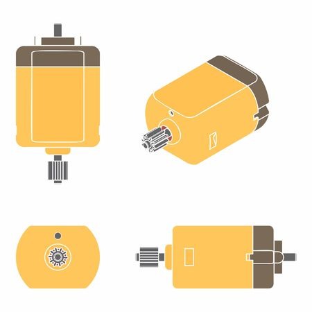 DC Motor colored. Without outline.