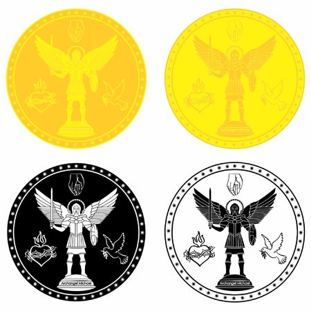 Archangel Michael medal gold and black fill.