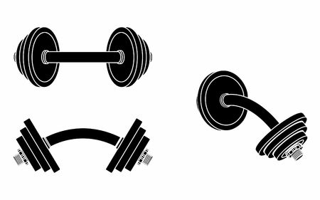 Dumbbell curved, black fill Illustration