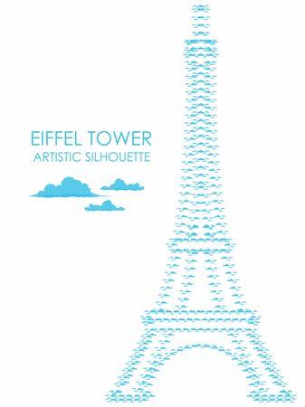 Eiffel Tower Artistic Silhouette Vetores