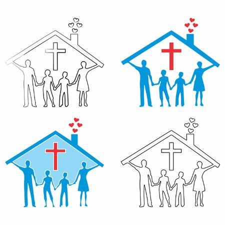 Famille chrétienne. Contour et remplissage coloré.