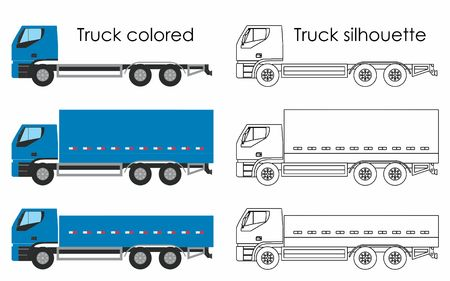 Truck colored and silhouette