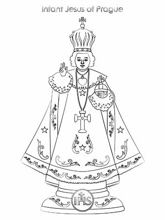 Infant Jesus of Prague. Outline like a brushstrokes.