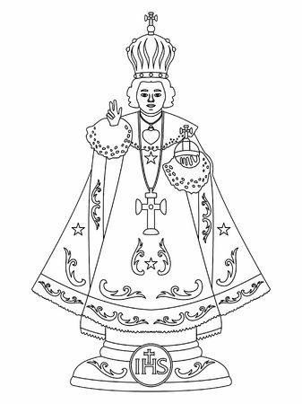 Infant Jesus of Prague. Outline only.