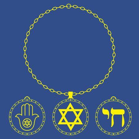 Medal circle chain. Jewish symbols. Vetores