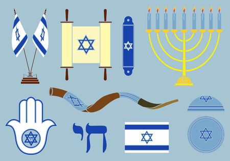 Jewish symbols colored. Without outline.