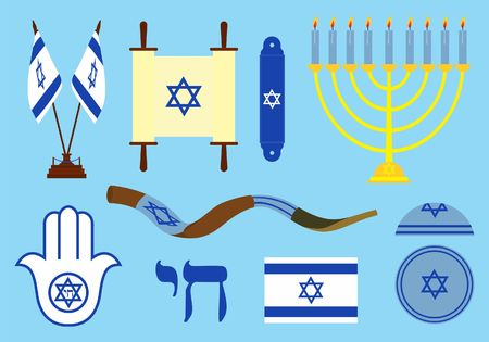 Jewish symbols colored.