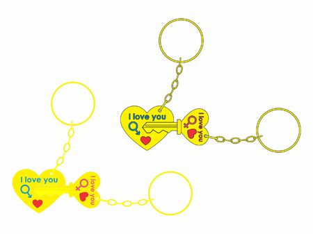 Keys for your heart colored and chain