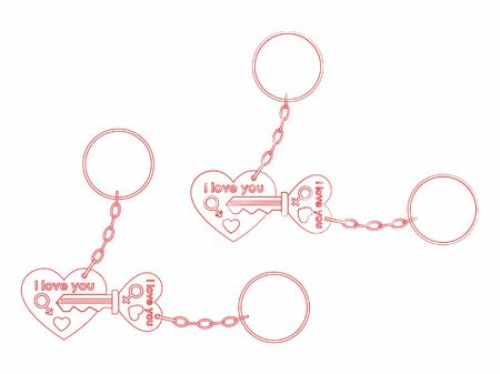 Keys for your heart outline only and chain