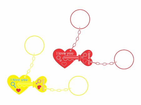 Keys for your heart without outline and chain