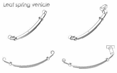 Leaf spring vehicle. Outline like a brushstrokes.