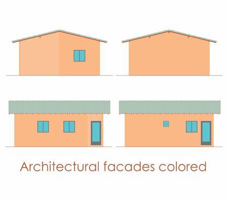 Architectural Facades colored 写真素材 - 105329146