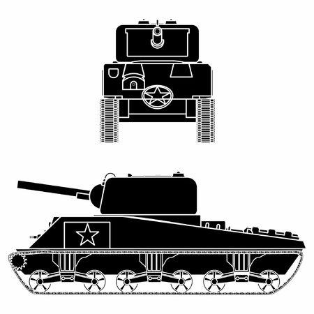 M4 sherman tank. Black fill. Vetores