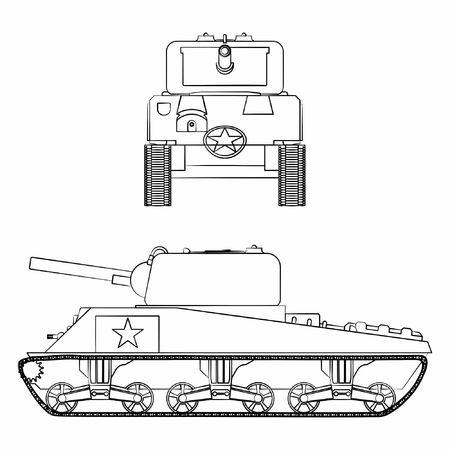M4 sherman tank. Outline like a brushstrokes.