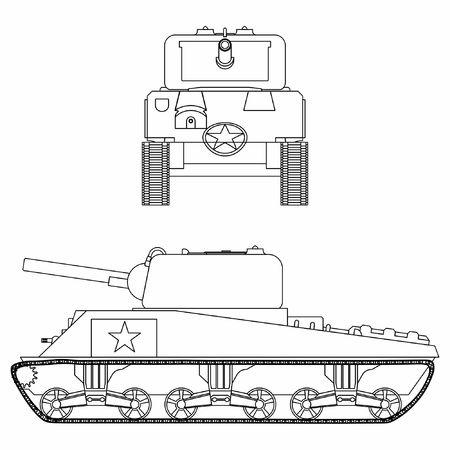 M4 sherman tank. Outline only.