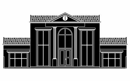 Classic facade house. Black fill.