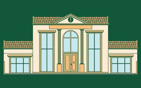 Classic facade house colored. Without outline. Vetores