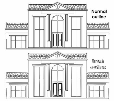 Classic facade house. Normal outline and brush outline.