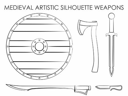 Medieval Artistic Silhouette Weapons Vetores