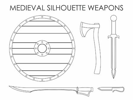 Medieval Silhouette Weapons Vetores