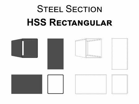 HSS rectangular steel section  イラスト・ベクター素材